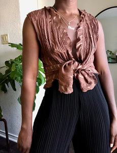 milk chocolate pleated ruffle blouse