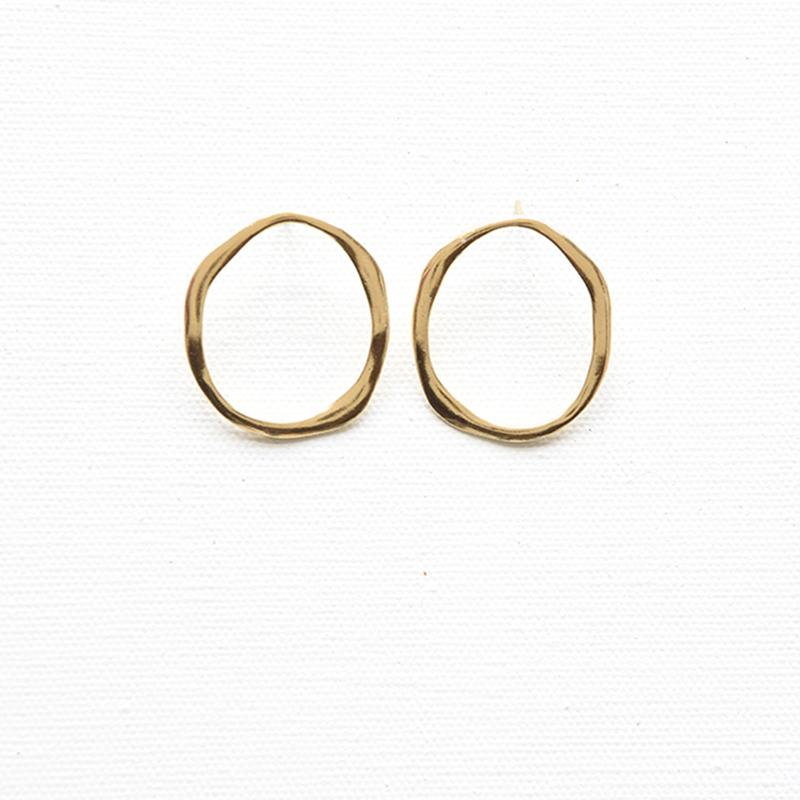 Organic Round Brass Earrings