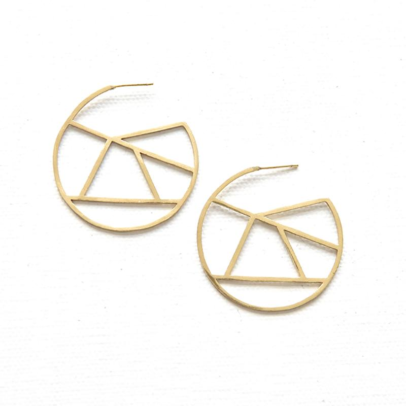Modern Lace Brass Hoop Earrings