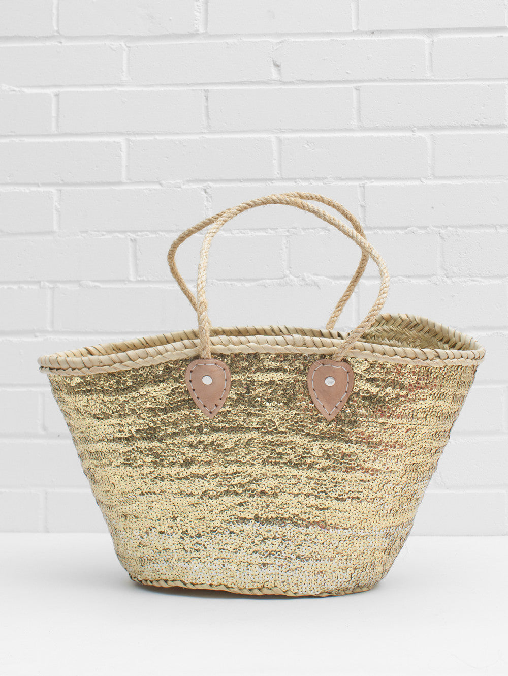 Gold Sequin Rope Basket Tote