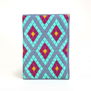 Double Diamond Hand-woven Wallet/Clutch - Aqua