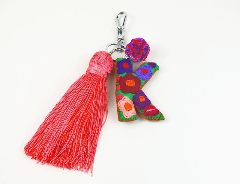 Embroidered Initial Tassel Dangle