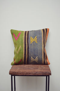 Vintage Kilim Square Pillow - Blue & Green