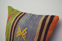 Load image into Gallery viewer, Vintage Kilim Square Pillow - Blue & Green