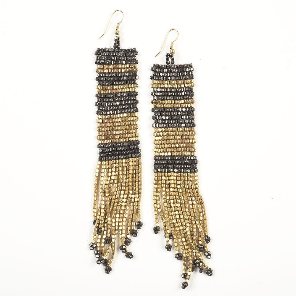 Flapper Gold & Gunmetal Beaded Earrings