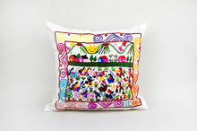 Load image into Gallery viewer, Michoacán Story Cloth Embroidered Pillow