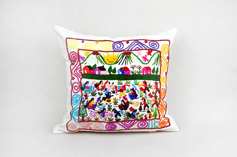 Michoacán Story Cloth Embroidered Pillow