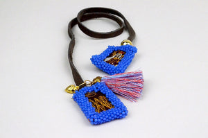 Beaded Scapular Leather Wrap Bracelet - Marine Blue