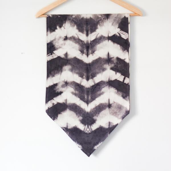 Raw Silk Chevron Table Runner - Gray
