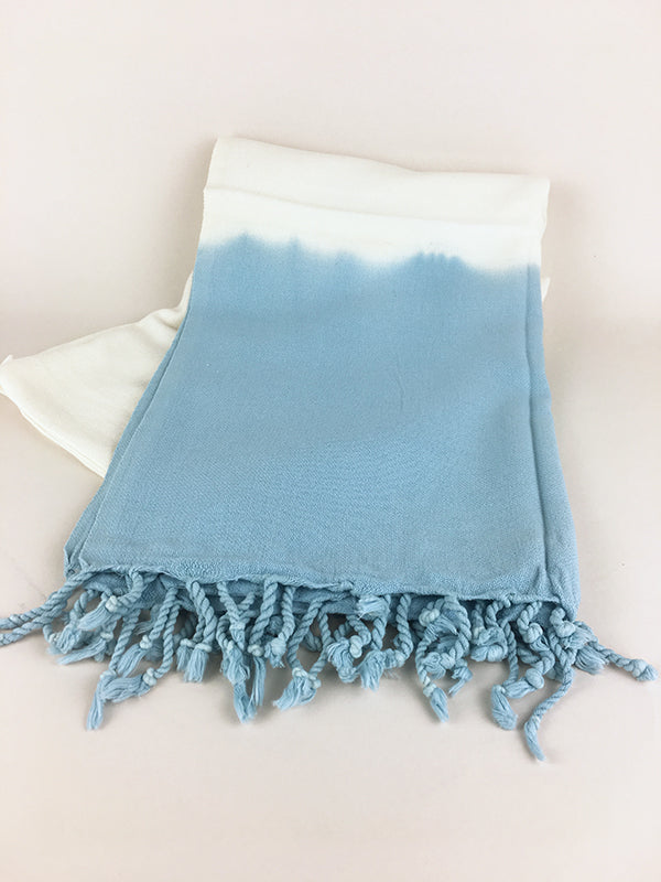 Dip Dyed Turkish Towel -  Blue