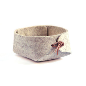 Small Merino Wool Felt Basket - Gray Heather