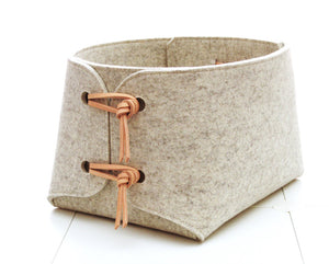 Extra Large Merino Wool Felt Basket - Gray Heather