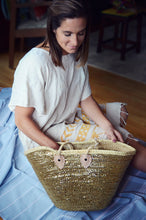 Load image into Gallery viewer, Gold Sequin Rope Basket Tote