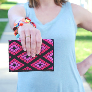 Double Diamond Hand-woven Wallet/Clutch - Pink