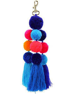 Pom Pom Dangle - Blue Mix