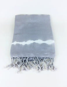 Tie Dyed Turkish Towel -  Gray