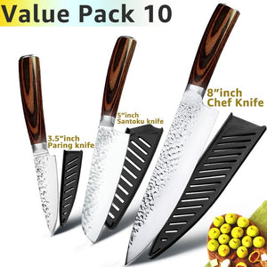 3.5 Inch Paring Knife / 5 Inch Santoku Knife / 8 Inch Chef's Knife