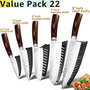 3.5 Inch Paring Knife / 5 Inch Utility Knife / 5 Inch Santoku Knife / 7 Inch Santoku Knife / 8 Inch Chef's Knife