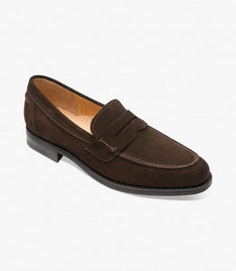 Loake Men's 356DSRF Leather Penny Loafers Shoes Dark Brown Suede