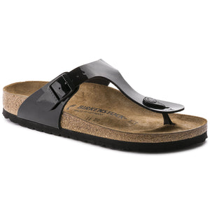 Birkenstock Unisex Gizeh Birko-Flor Regular Fit Sandals Patent Black