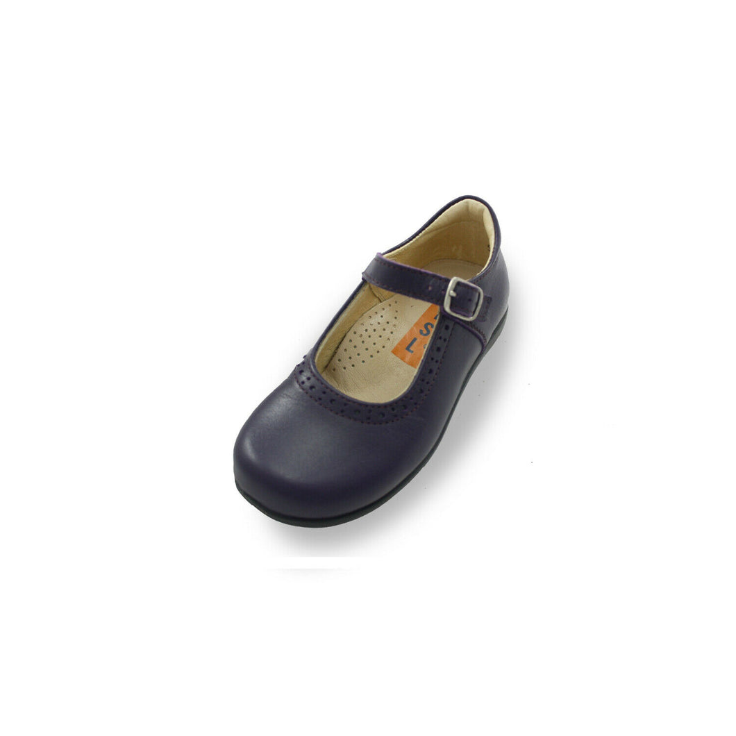 Petasil Childrens Girls Bella Leather Buckle School Shoes Navy