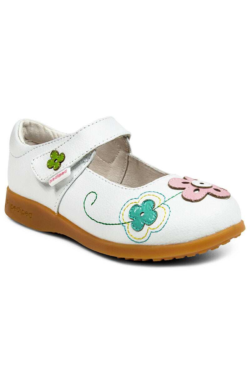 PediPed Childrens Girls Lorraine Flex Mary Jane Shoes White