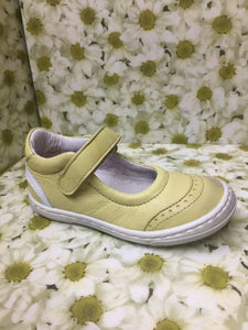 Bo-Bell Childrens Girls Cover Leather Mary Jane Shoes Yellow