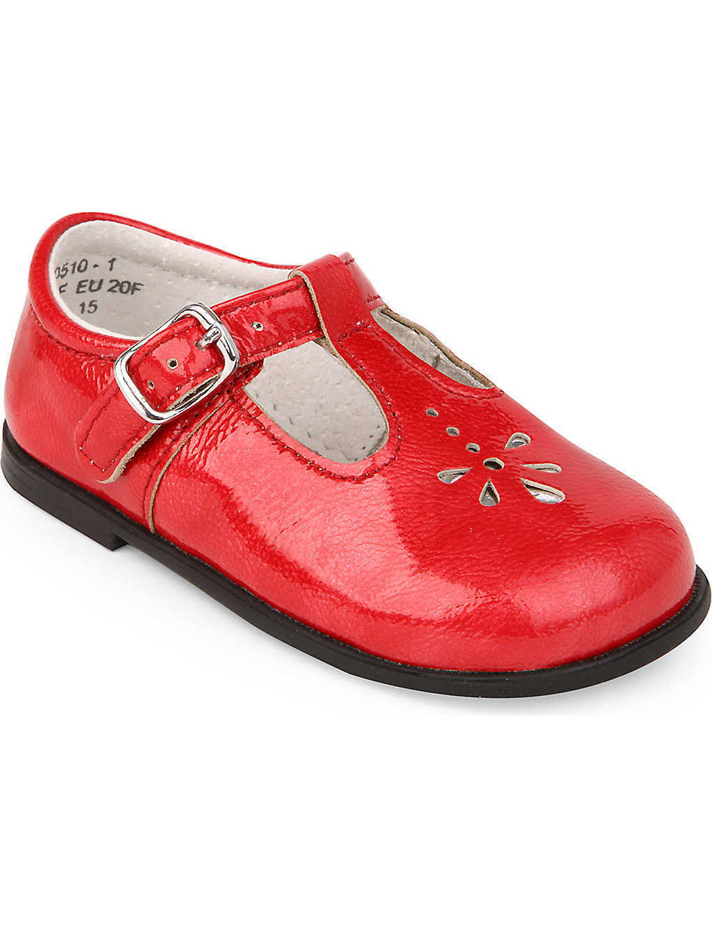 Start-Rite Childrens Toddlers Girls Leather Bubble 2 T-Bar Shoes Red Patent