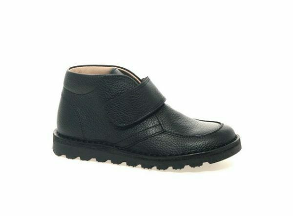 Petasil Childrens Boys Colin Velcro Leather School Ankle Boot Black