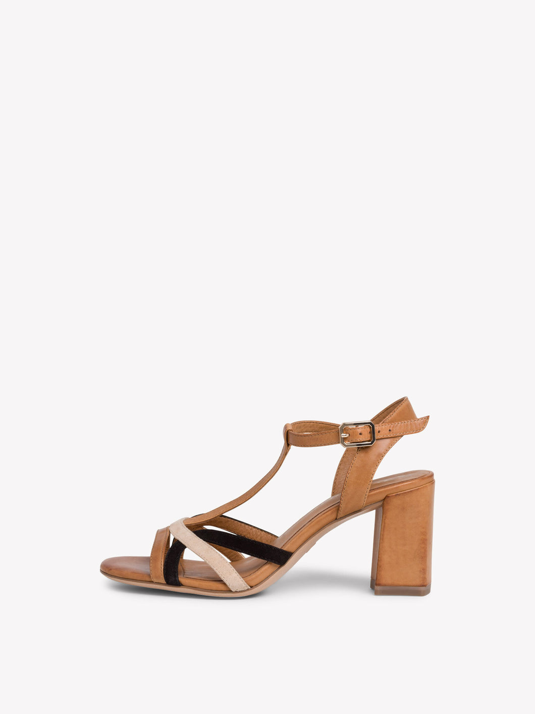 Tamaris Women's 1-28025-24 Heeled Leather Sandals Cognac Brown