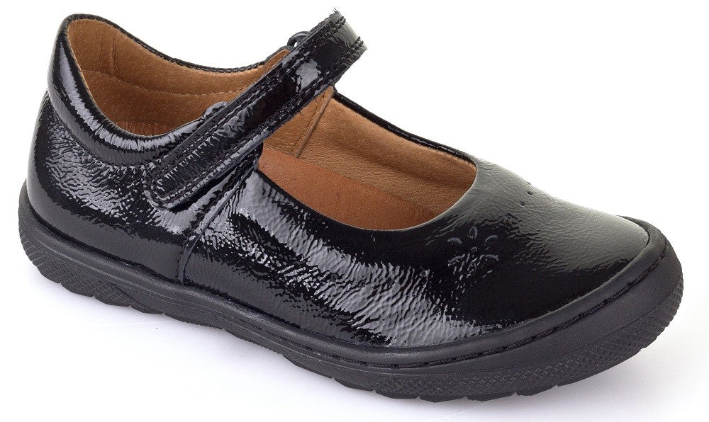 Froddo Girl's G3140053-1 Leather Crinkle School Shoes Black Patent