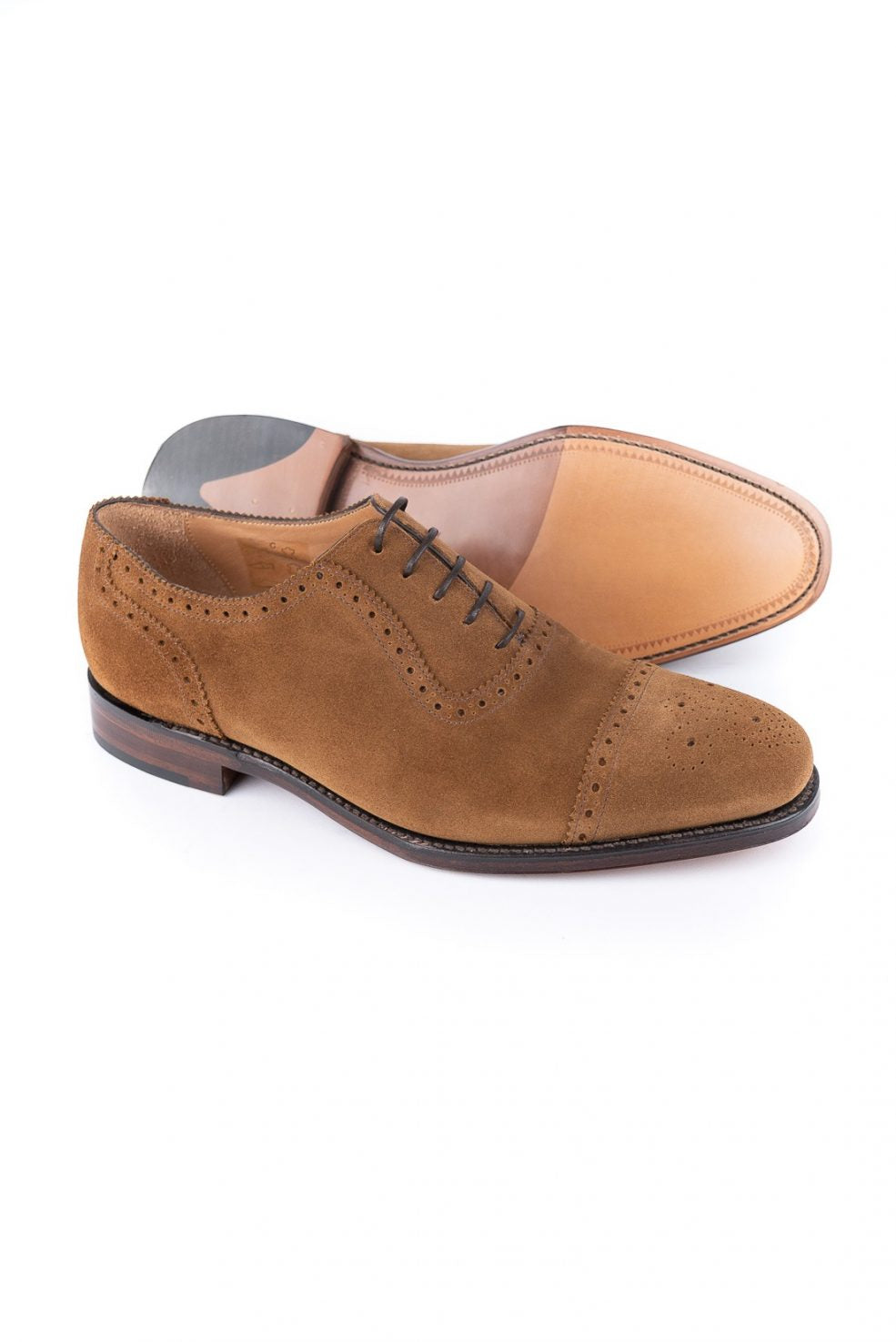 Loake Men's Strand TS Leather Semi Brogue Shoes Tobacco Suede