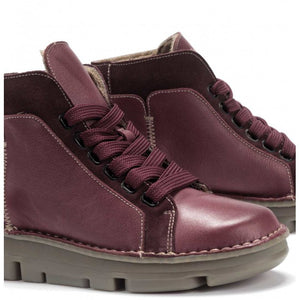 OnFoot Women's Touch Zen 29004 Leather Ankle Boots Burgundy