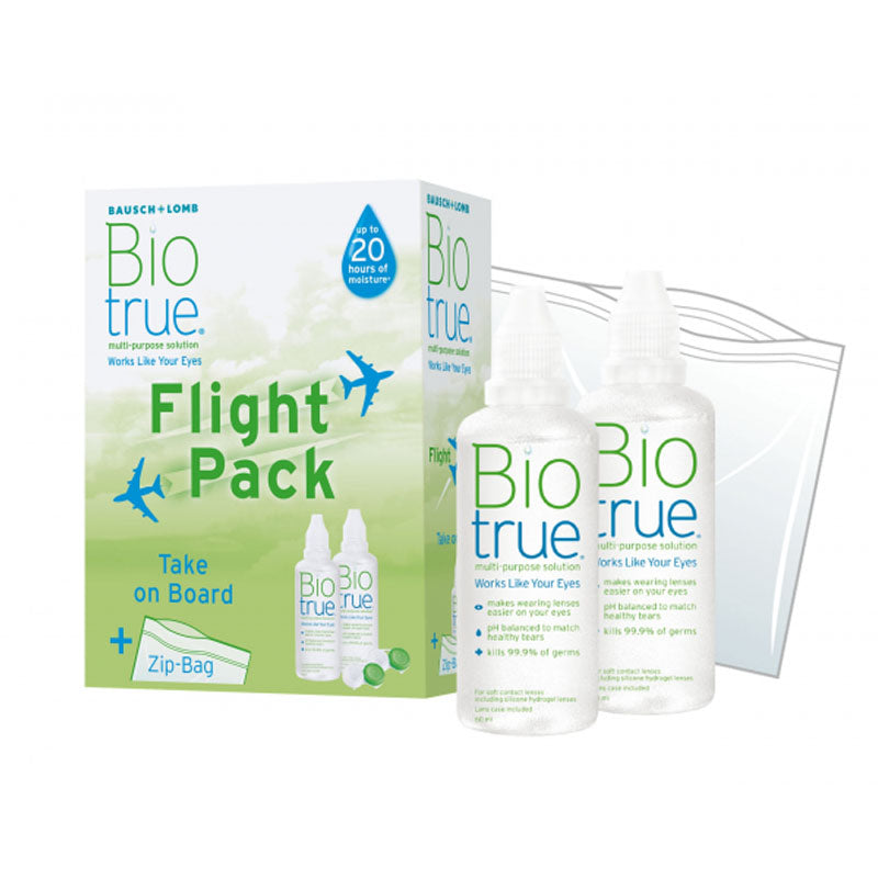 Biotrue Multi-Purpose Solution Flight Pack (2 x 60ml)