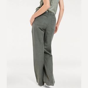 Women's Breathable Elastic Waist Wide Loose  Cotton Linen Casual Pants