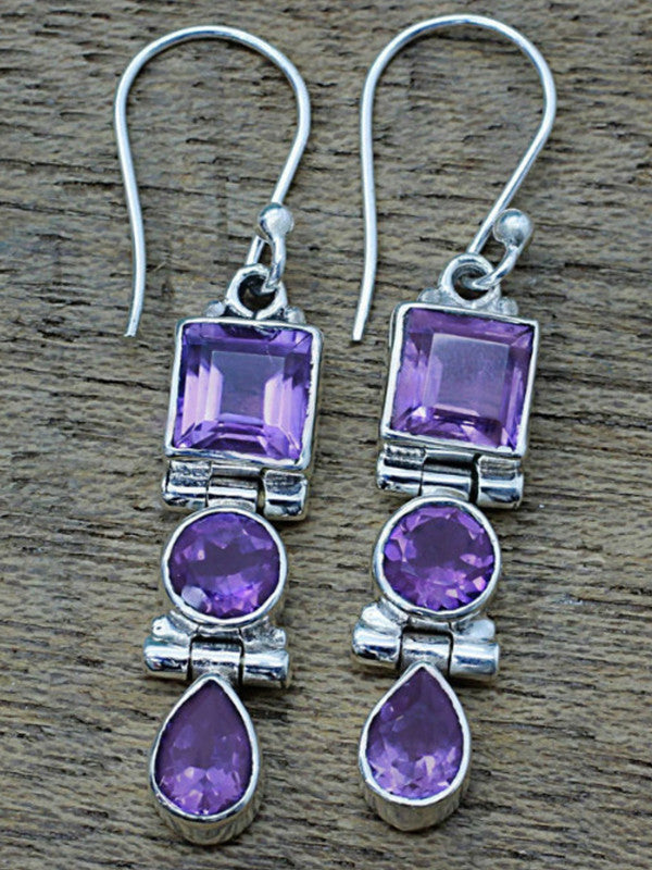 Ancient silver amethyst drop earrings