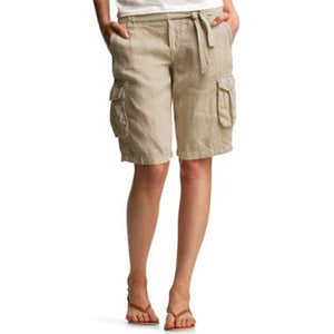 Women's Cotton And Linen Belt Wide-Leg Shorts