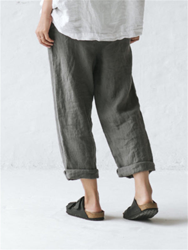 Women's Loose Oversized Cotton Linen Pocket Buttoned Pants