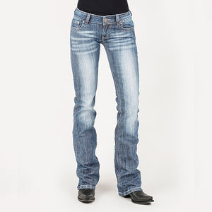 Women's Blue Arrow Washed Bootcut Riding Jeans