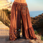 Load image into Gallery viewer, Women's Ruffle Drawstring Butterfly Print Wide Leg Casual Pants