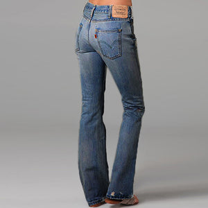 60s Mid Rise Mended Spots Boot Cut Jeans
