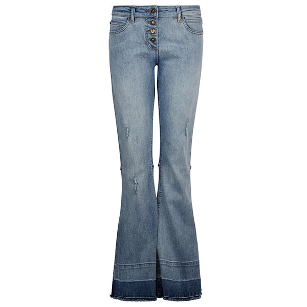 Button Up Frayed Washed Bell Bottom Jeans