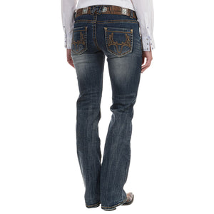 Western Classic Washed Faded Bootcut Jeans
