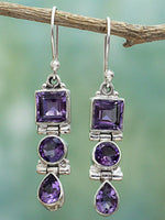 Load image into Gallery viewer, Ancient silver amethyst drop earrings