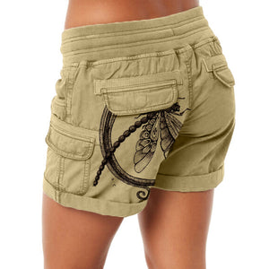 Dragonfly Print Rolled Up  Cargo Shorts