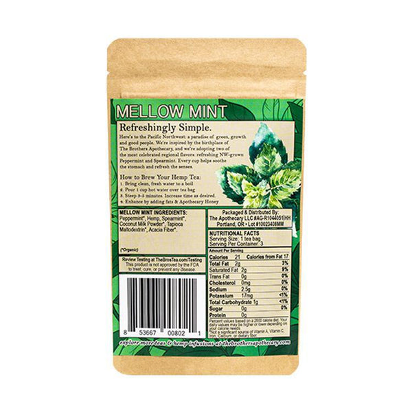 BROTHERS APOTHECARY - TEA - MELLOW MINT - 3-PACK - 180 MG - Daily Dose Plant-Based Health
