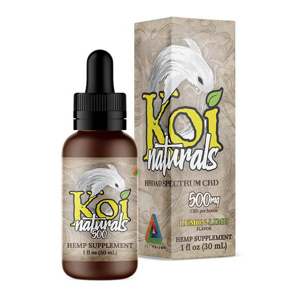 KOI NATURALS - BROAD SPECTRUM CBD TINCTURE - LEMON LIME - 500 MG - Daily Dose Plant-Based Health
