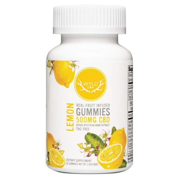 WYLD - REAL FRUIT INFUSED CBD GUMMIES - LEMON - 500 MG - BOTTLE OF 20 - Daily Dose Plant-Based Health