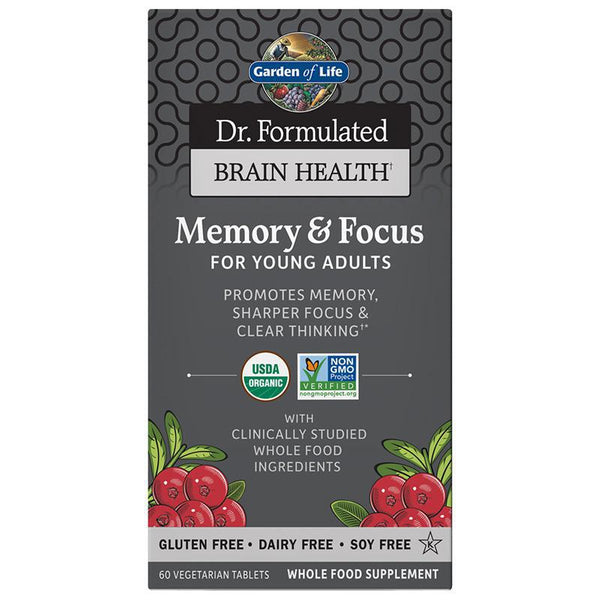 GARDEN OF LIFE - BRAIN HEALTH - MEMORY & FOCUS FOR YOUNG ADULTS - 60 COUNT TABLETS - Daily Dose Plant-Based Health