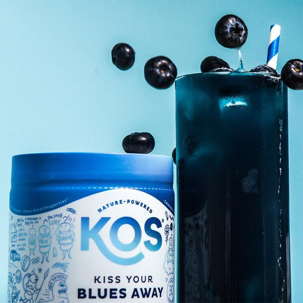 KOS - KISS YOUR BLUES AWAY - CALMING SPIRULINA BLEND - BERRY COCONUT COOLER FLAVOR - 9.4 OZ - 30 SERVINGS - Daily Dose Plant-Based Health